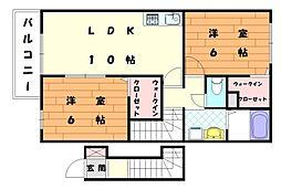 プティ アンジュIII[2階]の間取り