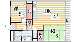 阪奈ローレルハイツ[402号室]の間取り