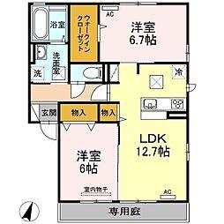 山口県宇部市上野中町の賃貸アパートの間取り