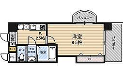 ラグゼ新大阪EAST2 13階1Kの間取り