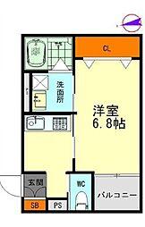 名鉄名古屋本線 栄生駅 徒歩9分の賃貸アパート 1階1Kの間取り