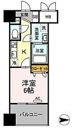 都営浅草線 蔵前駅 徒歩4分の賃貸マンション 7階1Kの間取り