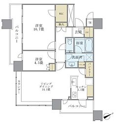 ブリリアタワーズ目黒サウスレジデンス 19階2LDKの間取り