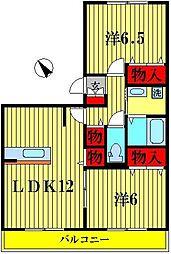 サニーフラットB[2階]の間取り