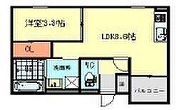 (仮)西日置2丁目B棟 3階1LDKの間取り