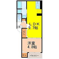 愛知県名古屋市千種区豊年町の賃貸アパートの間取り
