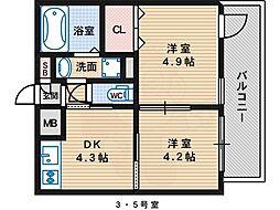 ステージ村田11 5階2DKの間取り