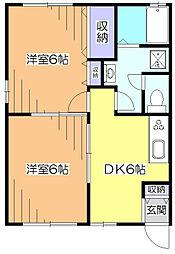 東京都西東京市芝久保町4丁目の賃貸アパートの間取り
