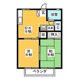 リバーサイドハイツA棟[2階]の間取り