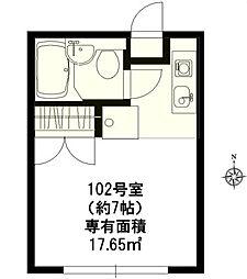 クレスト武蔵野 1階ワンルームの間取り
