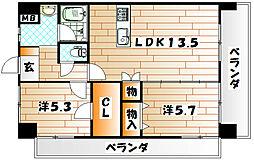 ザ・ヒルズ戸畑 B棟[4階]の間取り