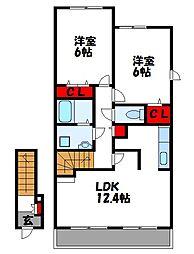 福岡県福津市宮司4丁目の賃貸アパートの間取り