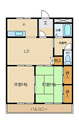 兵庫県姫路市飾磨区加茂東の賃貸マンションの間取り