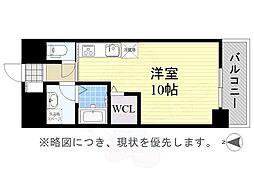 名古屋市営東山線 亀島駅 徒歩2分の賃貸マンション 4階ワンルームの間取り