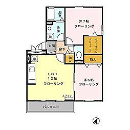 賀茂川ガーデンプレイスA[2階]の間取り