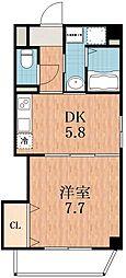 大阪府大阪市東住吉区針中野3の賃貸マンションの間取り