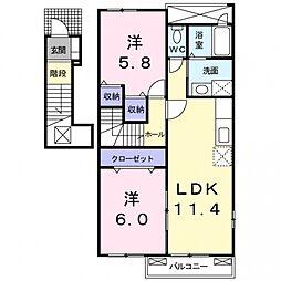 カルムヒカリ[2階]の間取り