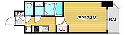 ファステートNAMBA華月 5階1Kの間取り