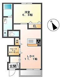 埼玉県深谷市東方の賃貸アパートの間取り