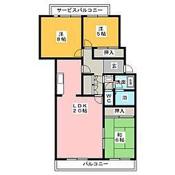 パラドールHARA[1階]の間取り