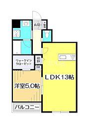 東武東上線 ふじみ野駅 徒歩10分の賃貸マンション 5階1LDKの間取り