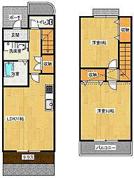 福岡県糸島市篠原西2丁目の賃貸アパートの間取り
