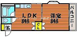 JR山陽本線 西川原駅 徒歩3分の賃貸アパート 3階1LDKの間取り