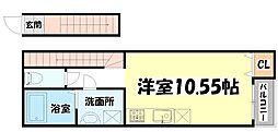 JR東北本線 東仙台駅 徒歩6分の賃貸アパート 2階ワンルームの間取り