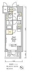 東京メトロ南北線 麻布十番駅 徒歩7分の賃貸マンション 10階ワンルームの間取り