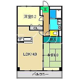 フィネス南川添[2階]の間取り