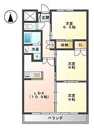 ラ・ミノールII[3階]の間取り