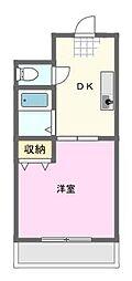 サンライフ宏和 3階1DKの間取り
