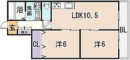 ハイマート弥刀2番館[3階]の間取り