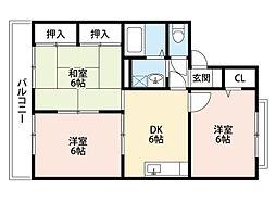 シャトー水島A棟[1階]の間取り