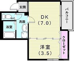 山陽電鉄本線 西代駅 徒歩6分の賃貸アパート 1階1DKの間取り