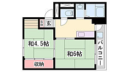 JR加古川線 西脇市駅 バス37分 曽我井公団下車 徒歩1分の賃貸マンション 1階2Kの間取り