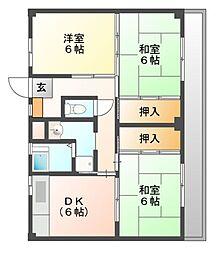 ビレッジハウス迎田3号棟[1階]の間取り