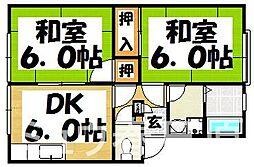福岡県春日市若葉台西2丁目の賃貸アパートの間取り