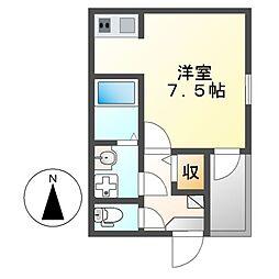 愛知県名古屋市千種区大久手町6丁目の賃貸アパートの間取り
