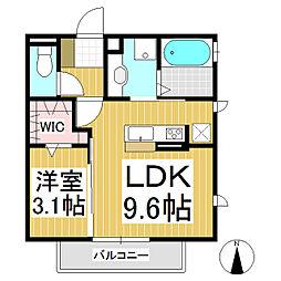 スクエアパレット 3階1LDKの間取り