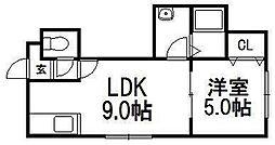 北海道札幌市手稲区富丘二条4の賃貸アパートの間取り