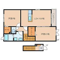 静岡県静岡市葵区建穂の賃貸アパートの間取り