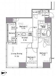 JR山手線 浜松町駅 徒歩3分の賃貸マンション 11階3LDKの間取り