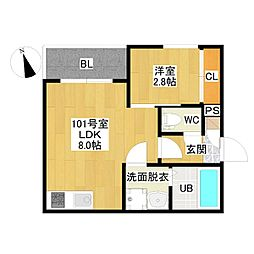 JR東海道本線 尾頭橋駅 徒歩8分の賃貸アパート 1階1LDKの間取り