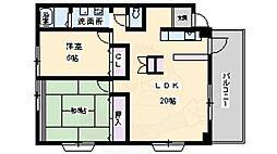 北大阪急行電鉄 桃山台駅 徒歩9分の賃貸マンション 4階2LDKの間取り
