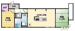 ルナピエーナ B棟 1階2LDKの間取り
