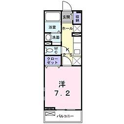 伊予鉄道横河原線 福音寺駅 徒歩16分の賃貸アパート 1階1Kの間取り