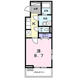 東武東上線 朝霞駅 徒歩10分の賃貸アパート 2階1Kの間取り