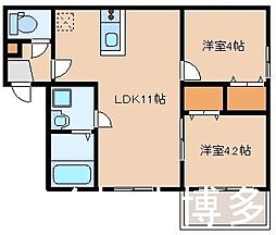 JR鹿児島本線 箱崎駅 徒歩10分の賃貸アパート 1階2LDKの間取り