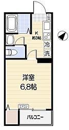 サンライト新浦安 3階1Kの間取り
